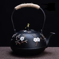 Cast iron kettle pot uncoated iron tea kettle southern Japan old iron pot very happy pig pots 1200ML