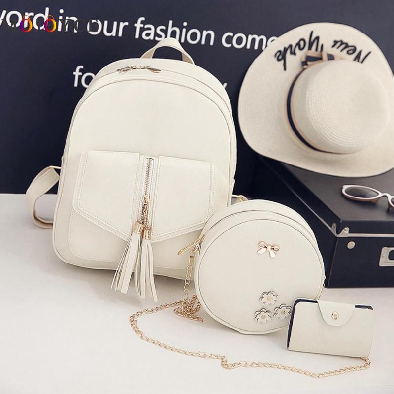 3pcs/set Tassels Bowknot Pu Leather Women Backpacks Cute School Backpacks For Teenage Girls Female Shoulder Bag
