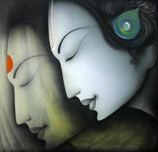 Индийская Классическая религиозная пара портрет картина маслом Ручная роспись Современная картина маслом холст настенная живопись украше