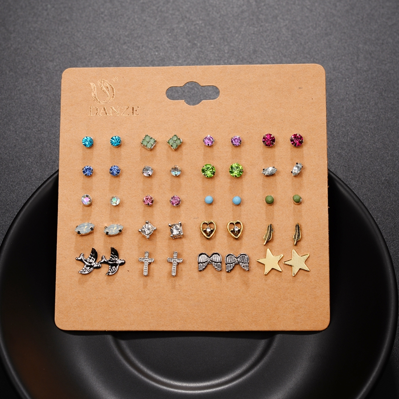 DANZE Punk Pairs Pack Set Brincos Mixed Stud Earrings For Women Crystal Ear Studs Fashion Simulated Pearl Jewelry Wholesale 57