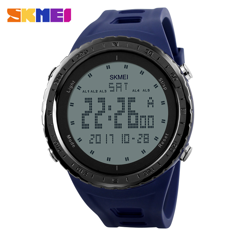 SKMEI 1246 Men Sports Watches Countdown Chrono Double Time EL Light Digital Wristwatches 50M Water Resistant