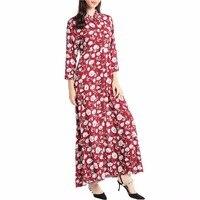 Women Bohemian Maxi Long Dress Casual Dress Kaftan Islamic Abaya Muslim Robe Printing Shirt Dress Long