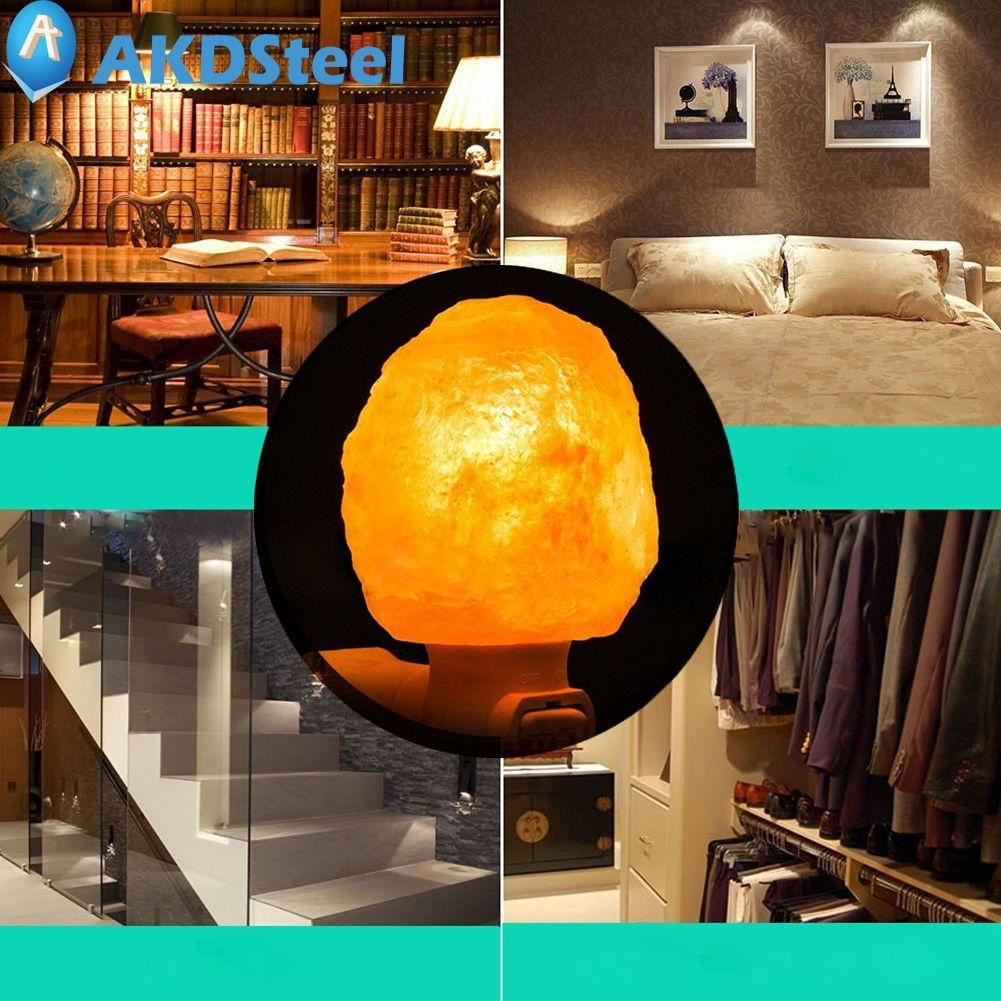 AKDSteel 15W Natural Shaped Rorate Himalayan Salt Lamp Air Purifier Crystal Salt Rock Bedside lamp Night Light Aisle Bedroom цена