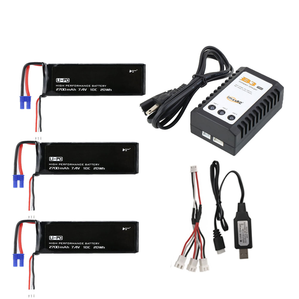 Original Hubsan H501C <font><b>H501S</b></font> X4 7.4V 2700mAh lipo battery battery With B3 Charger For RC Quadcopter Drone <font><b>H501S</b></font> Accessories <font><b>Parts</b></font> image