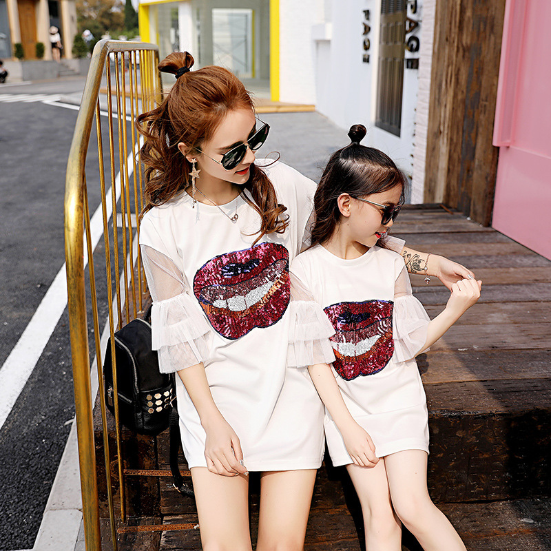 Family Mother Daughter Matching Dresses Summer Mother and Daughter Clothes Family Look Mom and Daughter Dress Clothes T-shirt spring new matching mother daughter clothes bow patchwork mother daughter dresses party mom and daughter dress family look dress