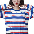 New 2016 Women Tops Autumn Female T Shirt Harajuku Shirts Striped Long Sleeve T-shirt  Women Clothing Loose Kawaii BF Top