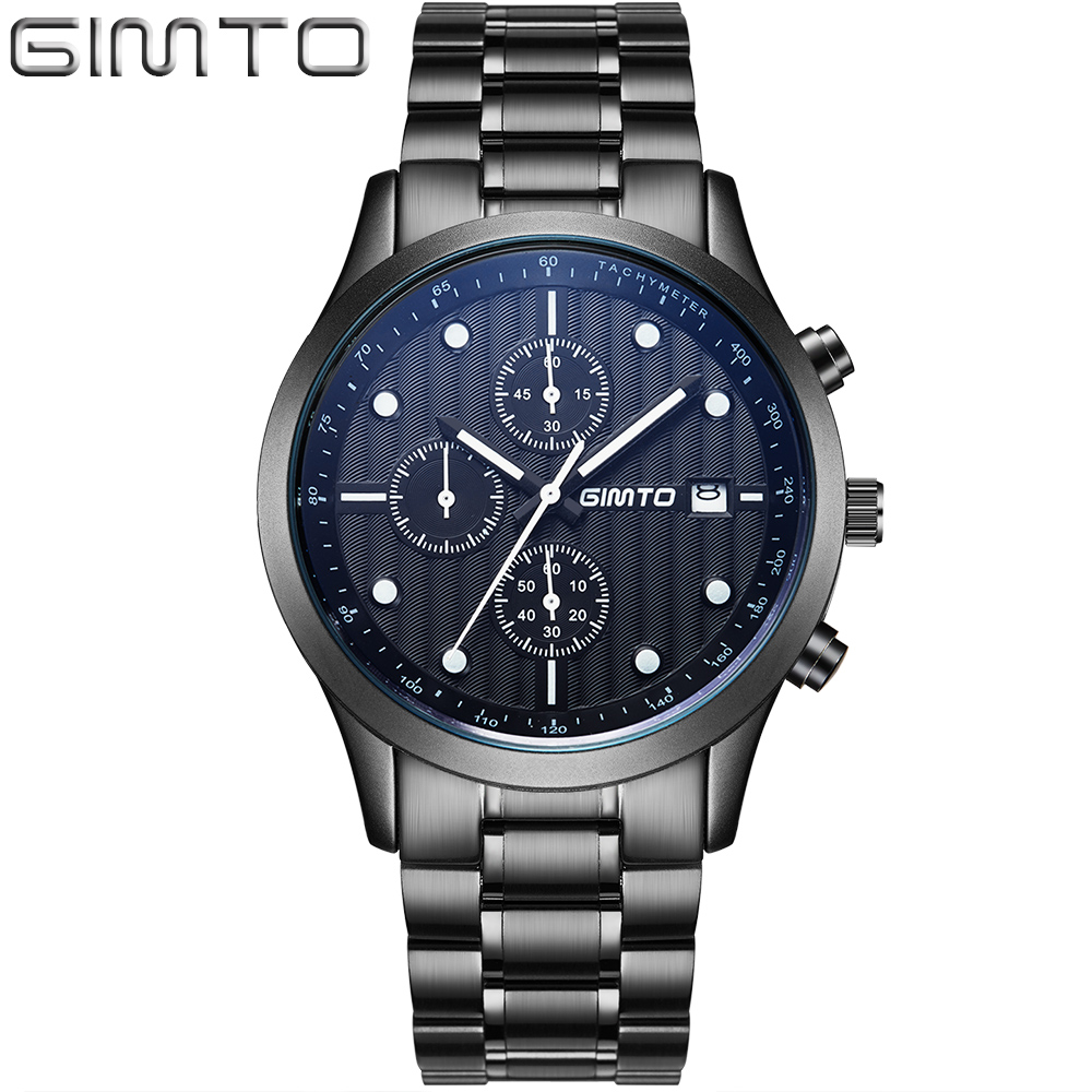 GIMTO brand high quality men's sport watch fashion steel band quartz watch Multi-function analog clock Military Watches Relogio