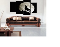 XQL ART 4pcs/set Framed Modern Home Decor Paintings Boutique Wolf HD Print Living Room Wall Decor Canvas Pictures Ready To Hang