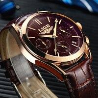 2017 New Fashion Man Watches Top Luxury LIGE Brand Quartz Watch Leather Strap Waterproof Male Business