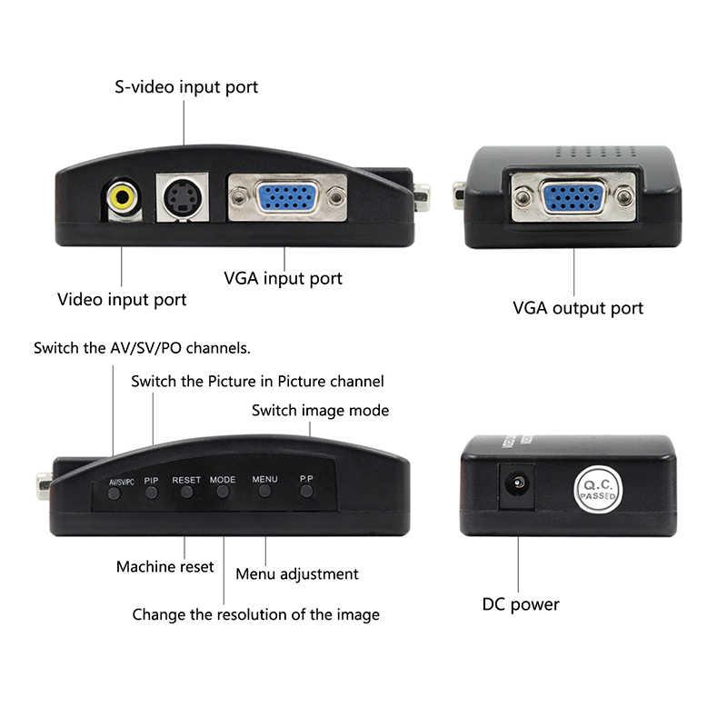 Penjualan Panas Kualitas Tinggi US Plug TV RCA Komposit S-Video AV untuk Vga PC MAC LCD Keluar converter Adaptor Kotak