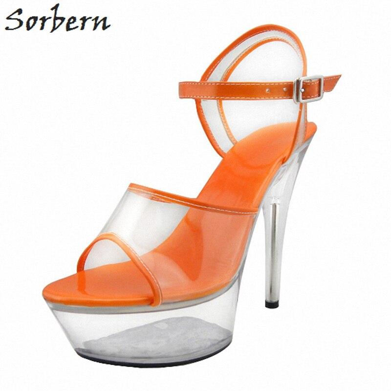 Sorbern Film Sexy Hot High Heels Sandals Transparent Stilettos Slingbacks Summer Shoes Exotic Dancer Shoes Clear Strap Sandals