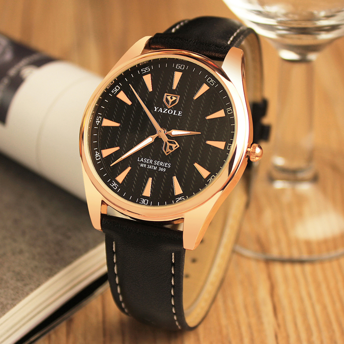 YAZOLE men's watch Fashion Brand round dial Watches men luxury Leather black white buckle luminous table needle Quartz men watch chic xinhua 701 round pink dial star shaped case bracelet watch with dots hour marks for women white