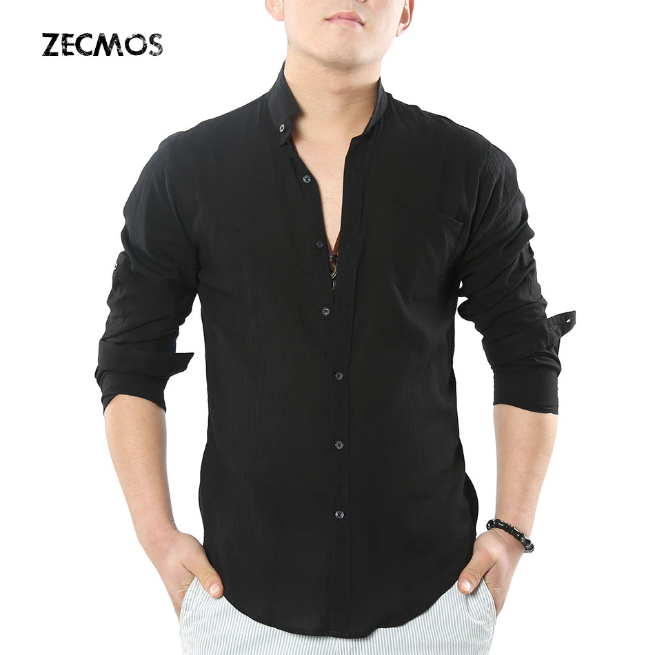 Zecmos Social Grandad Chinese Mandarin Collar Shirt Men Casual Shirt High Quality Cotton Linen Shirt Подушка