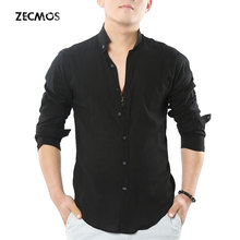 Zecmos Social Grandad Chinese Mandarin Collar Shirt Men Casual Shirt High Quality Cotton Linen Shirt