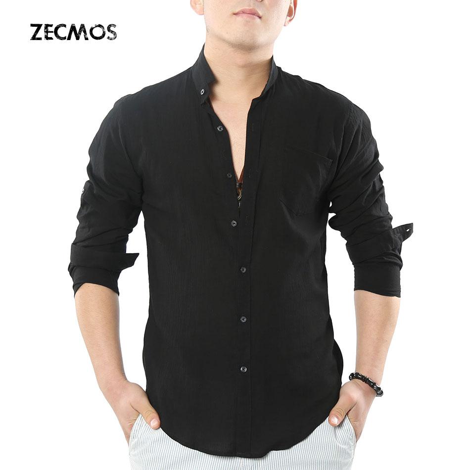 Zecmos Social Grandad Chinese Mandarin Collar Shirt Men Casual Shirt High Quality Cotton Linen Shirt