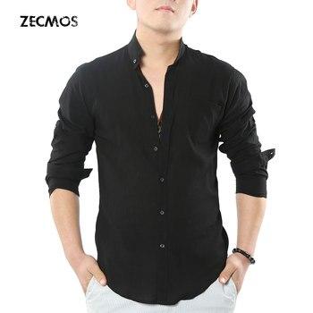 Zecmos Social Grandad Chinese Mandarin Collar Shirt Men Casual Shirt High Quality Cotton Linen Shirt casual drawstring mandarin collar t shirt