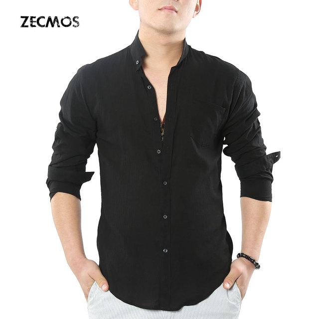 Zecmos abuelo social chino mandarín cuello de la camisa de los hombres camisa casual camisa de lino de algodón de alta calidad