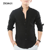 Zecmos Social Mandarin Collar Shirts Men Ultra Thin Hawaii Casual Shirts High Quality Cotton Linen Shirts