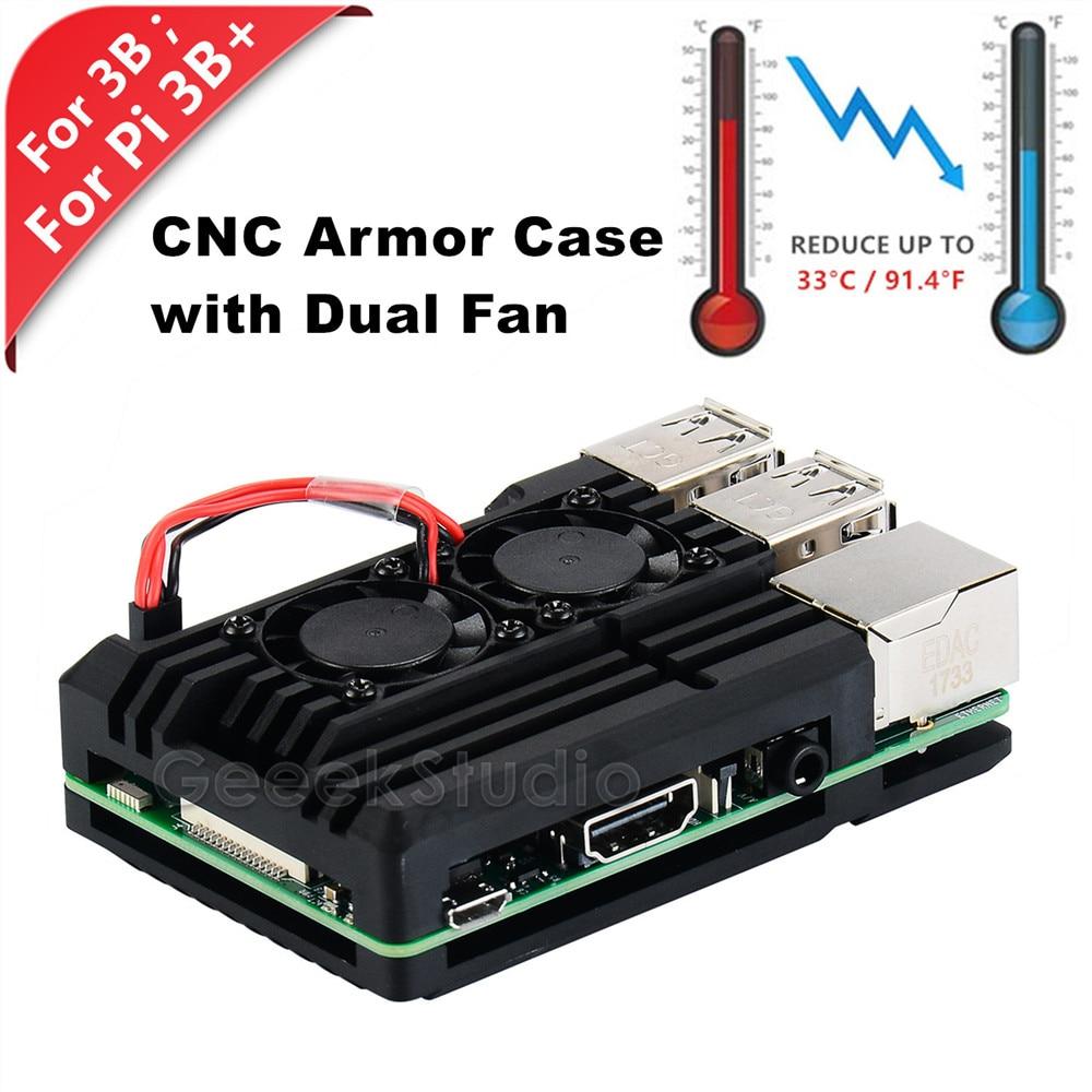 Neue! Raspberry CNC Aluminium Legierung Rüstung Fall mit Kühlung Kühlkörper Dual Fan für Raspberry Pi 3 Modell B/Pi 3 B + (Plus)