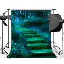 Photographie toile de fond Jungle forêt rêveuse monde conte de fées étapes herbe champ fantaisie paysage décors