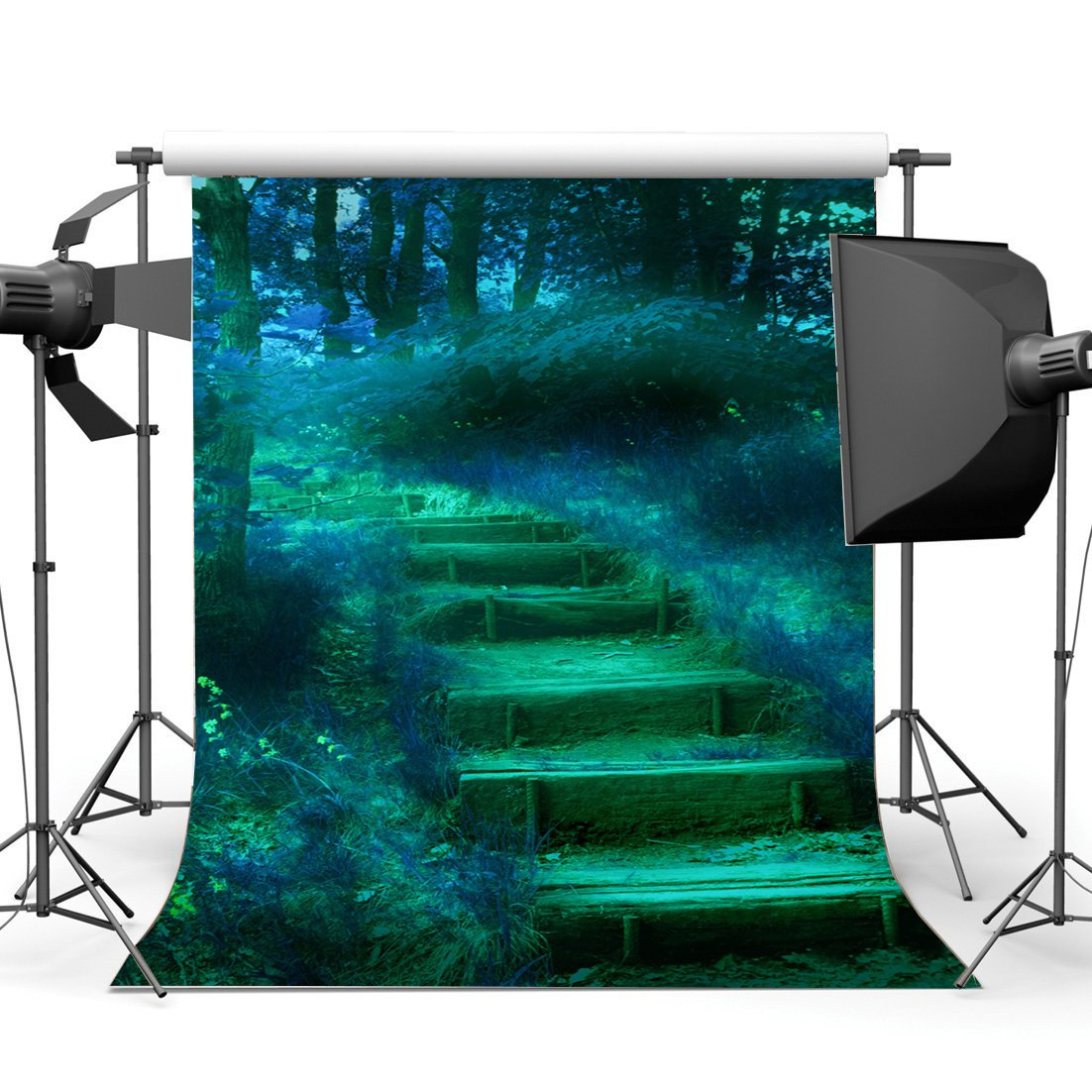 Photography Backdrop Jungle Forest Dreamy World Fairy Tale Steps Grass Field Fantasy Landscape Backdrops-in Photo Studio Accessories from Consumer Electronics