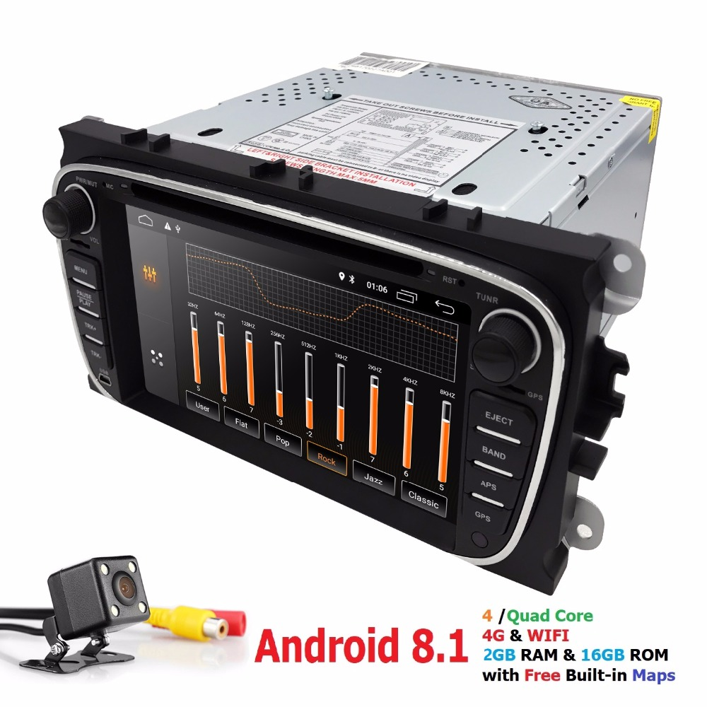 2G+16G Android 8.1 4G Car Radio Multimedia Video Player Navigation GPS For ford focus Mondeo Galaxy Transit Connect 2 din dvd CD