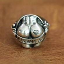Мужское кольцо в виде ягодиц KISS MY ASS, серебряное кольцо в виде ягодиц, байкерское кольцо, TA148