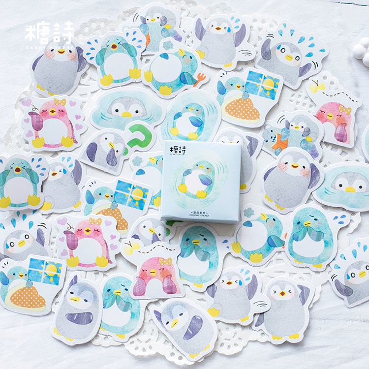 45 PCS/box Creative Little Penguin Paper Lable Stickers Crafts And Scrapbooking Decorative Lifelog Sticker DIY Lovely Stationery