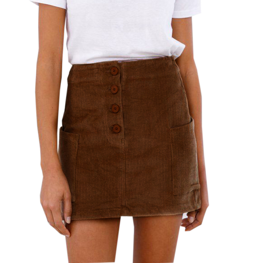 Office Ladies School Women's Short Skirt Denim Style Button A-line High Waist Pocket Zipper Mini Skirt Harajuku FJA24