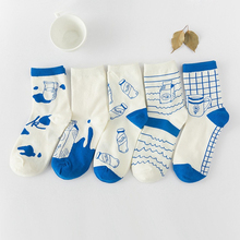 1Pair/lot 'Blue Milk' Warm Winter Cotton Socks For Women Girls Female High Quality Fashion Calcetines Novelty Pattern Meias A083