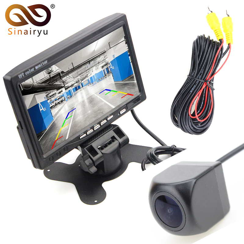Sinairyu 2In1 Car Parking System 170 Degree Fisheye Lens Car Rear View Camera with HD 7