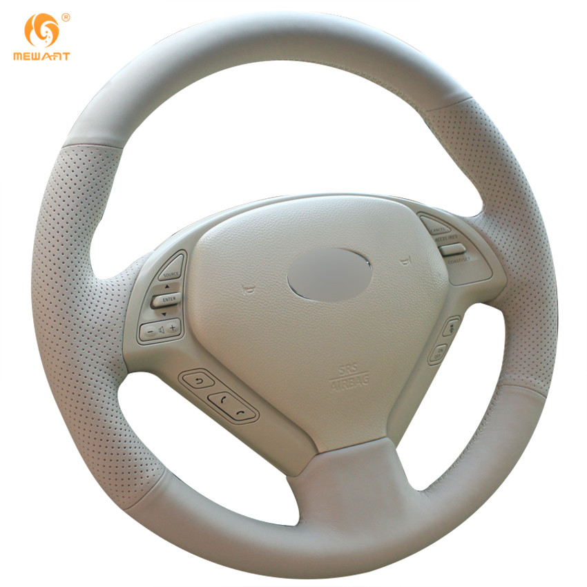 MEWANT Beige Genuine Leather Car Steering Wheel Cover for Infiniti G25 G35 G37 QX50 EX25 EX35 EX37 2008-2013 front wheel hub for infiniti ex35 fx35 g25 g35 g37 m35 m37 40202 cg110