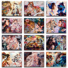 ZOOYA 5D Diamond Painting wolf Cross Stitch tiger Art lady Embroidery Animal Leopard Lion Woman Mosaic Wall Deco sale RW