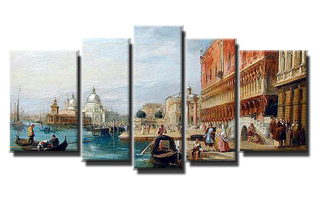 Framed 5 Panel Large Oil Painting Venice Wall Art Classic Picture ...