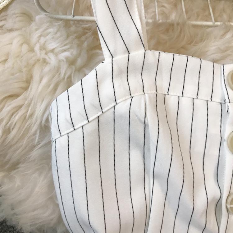 2019 Spring and Summer Korean New Stripe High Waist Open-back Jumpsuit Women Sleeveless Broad-legged Overalls G794 49
