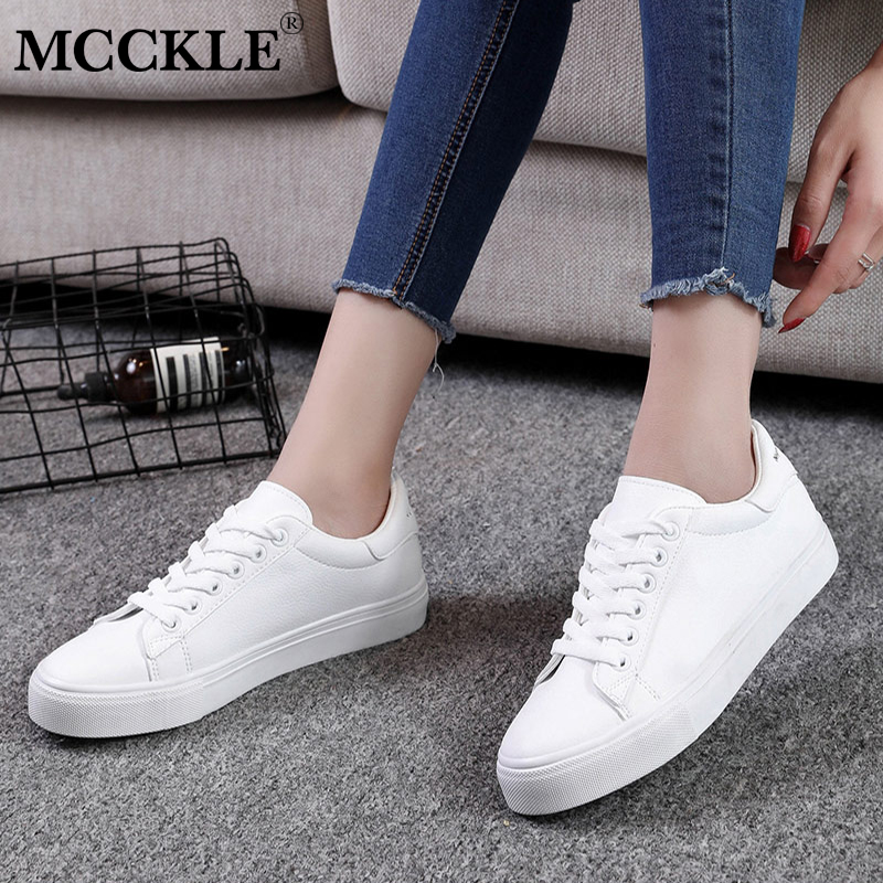 MCCKLE Autumn Platform Women Sneakers Lace Up Casual Flat Sewing Female Solid Vulcanize White Shoes Leisure Footwear mcckle female flat shoes women cut outs autumn espadrilles fashion flock buckle strap sewing flats casual solid footwear shoe