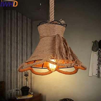IWHD Edison Loft Industrial Pendant Lights Vintage Rope Lamp Luminaire Suependu Iron Retro Pendant Light Fixtures Home Lighting iwhd iron nordic pink led pendant lights vintage industrial loft pendant lamp retro hanglamp fixtures home lighting luminaire