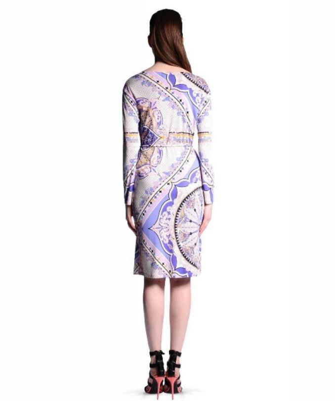 Xxl Stampa Geometrica Size Stretch Jersey Designer Dalle Viola Giorno Maniche Dress Nuovo A Brand Lunghe Vestito Donne 2015 Plus Seta 0Uwx8aRq