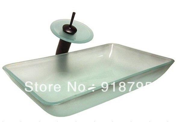 Tempered Glass Rectangular Handcraft Bathroom Vanity Vessel Sink Popular Europe Counter Top Wash Basin JN008