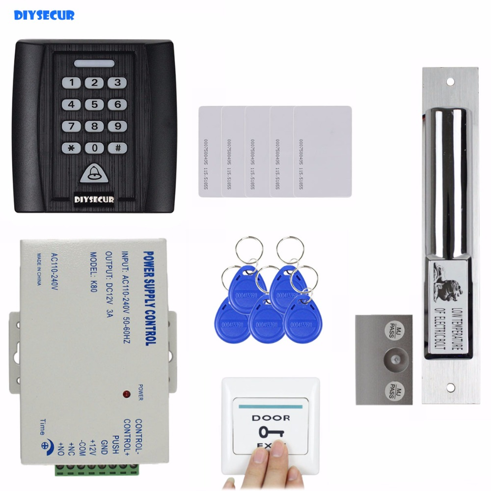 DIYSECUR 7 in 1 Electric Bolt Lock 125KHz RFID Reader Password Keypad Access Control System Security Kit + Exit Button KS158 diysecur 280kg magnetic lock 125khz rfid password keypad access control system security kit exit button k2
