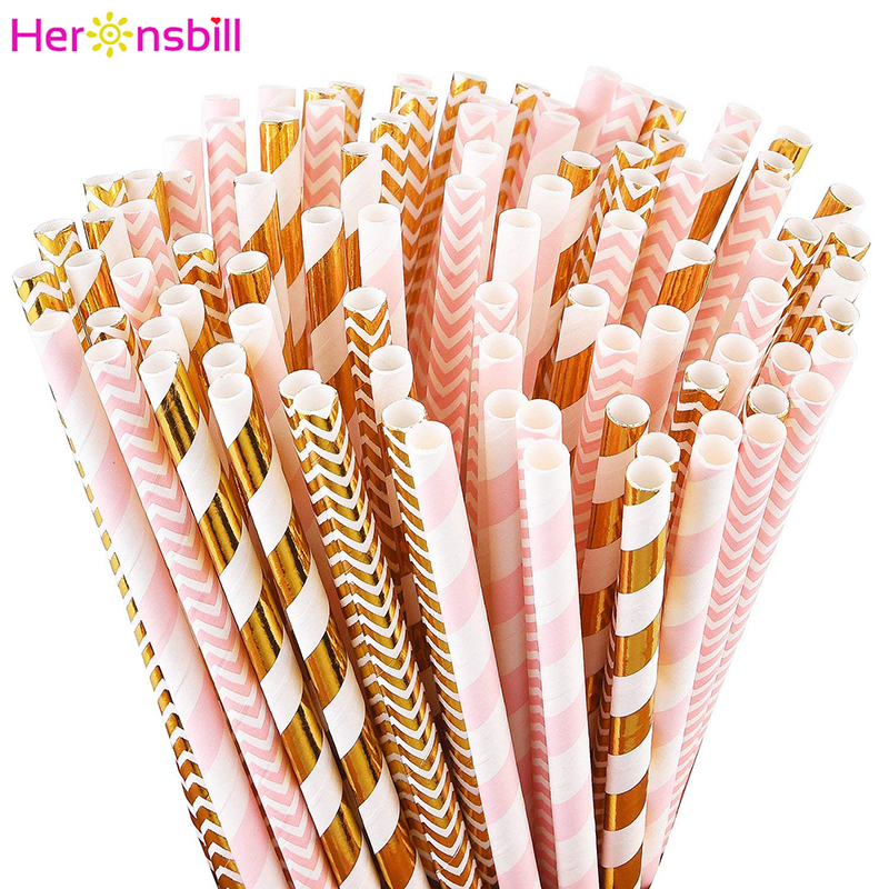 25Pcs Paper Drinking Straws Wedding Bachelorette Party Table Decoration Birthday Kids Its A Boy Girl Baby Shower Adult Supplies