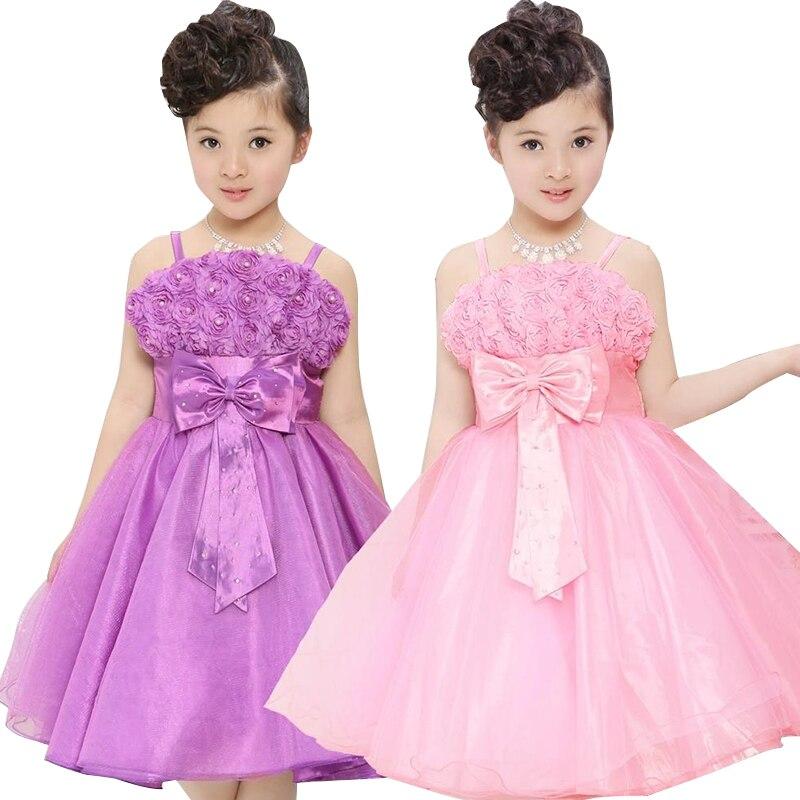 Summer Girls Party Dress Rose Petal Girl Princess Dress 3-12 Years Children Wedding Birthday Clothing Kids Costume