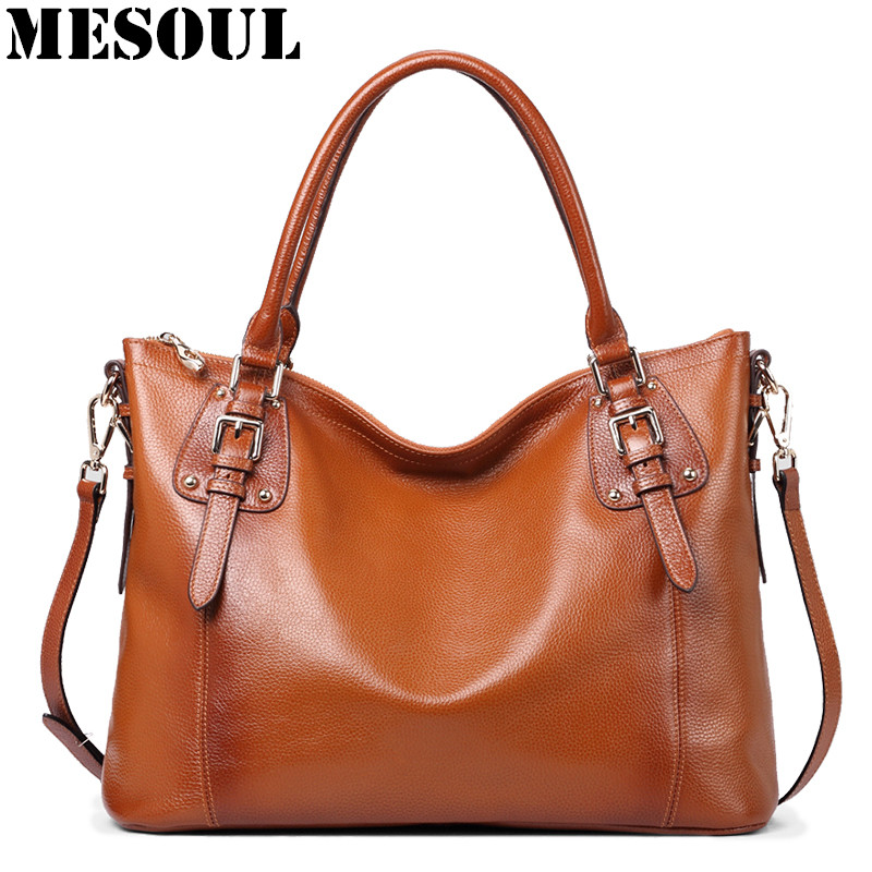 MESOUL Luxury Handbags Women Bags Designer Genuine Leather Shoulder Bags Famous Brand Large Capacity Casual Tote Hand Bag Ladies 2017 new brand shoulder bag large fashion women bag ladies hand bags luxury designer handbags women messenger bags casual tote