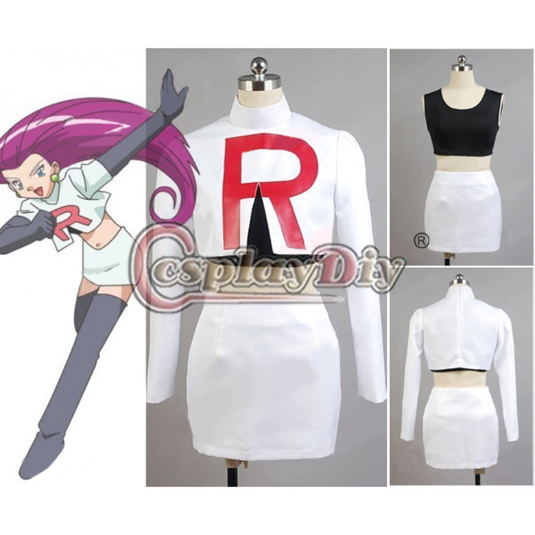 Custom Made Pokemon Team Rocket Jessie Cosplay Costume For Carnival Halloween Party Game Cosplay Costume