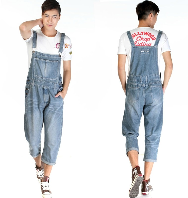 2014 New Fashion Men nostalgic vintage light color Jeans  WASH capris pants loose plus size overalls zipper denim  jumpsuit 2016 new fashion men vintage trousers casual jeans pants loose plus size 28 42 overalls overalls denim jumpsuit