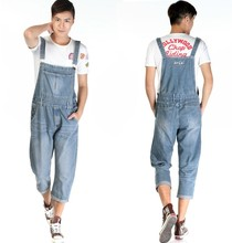 2014 New Fashion Men nostalgic vintage light color Jeans WASH capris pants loose plus size overalls zipper denim jumpsuit