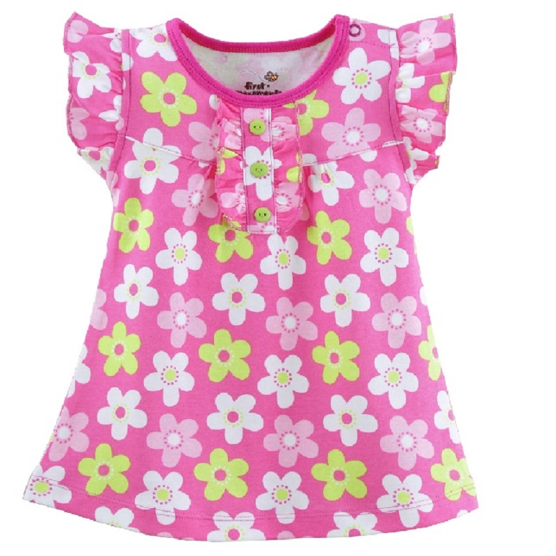 Hooyi baby Girl Dress Summer Baby clothes floral newborn blouses infant t-shirts summer dress jumper Tops