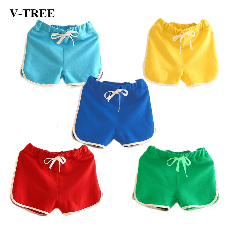 V-TREE Summer Girls Boys Shorts Cotton Boys Swimming Trunks Candy Color Children's Shorts Kids Beach Clothing stylish mid waist candy color slimming shorts for women