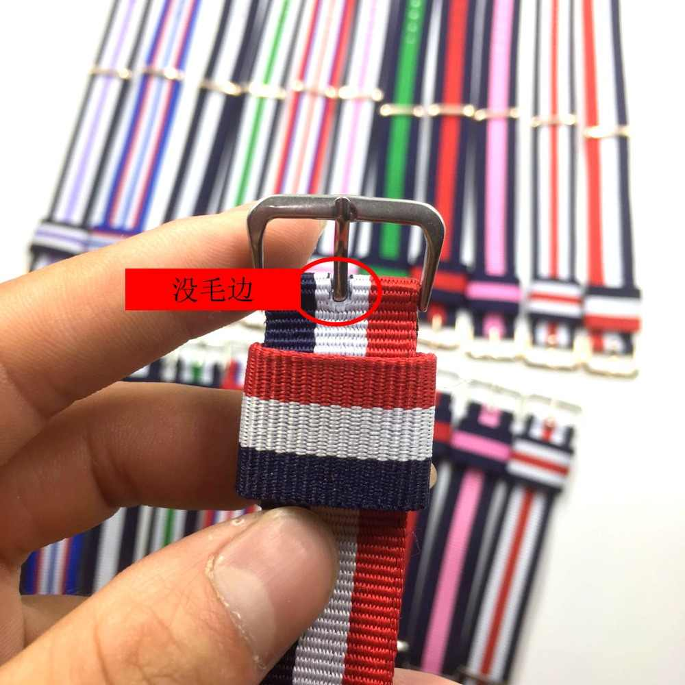 14mm 18mm 20mm Army Sports Watch Strap nato fabric Nylon watchband Buckle belt For Daniel Wellington Band For 007 James bond DW
