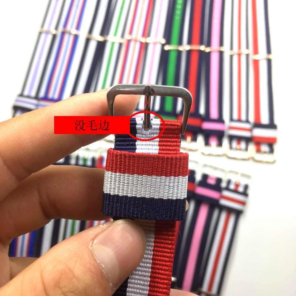Reloj deportivo del ejército de 14mm 18mm 20mm correa tipo NATO Correa de nylon de tela cinturón de hebilla para la correa 007 James bond hombre señora correa de lona
